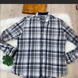 Alfani Striped Plaid Button Front Long Sleeve 2409